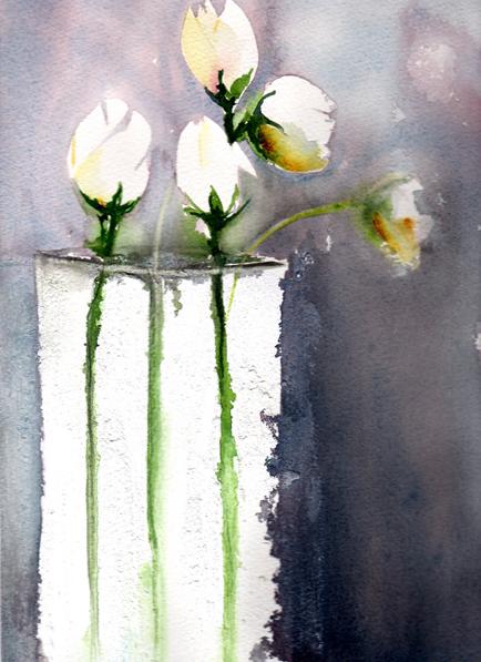 Vase blanc  cours Simone Odaert